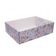 Коробка МГК с пластиковой крышкой цветы средняя