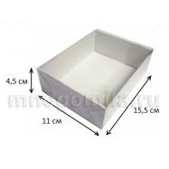 Коробка МГК с пластиковой крышкой белая средняя 100 шт