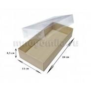 Коробка МГК* с пластиковой крышкой крафт, большая