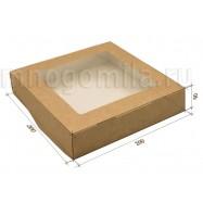 Крафт-коробка с окошком большая квадратная