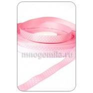 Лента репсовая точки на розовом 1 метр