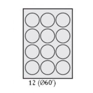 Самоклеящаяся бумага 12 делений круг 1 лист