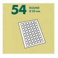 Самоклеящаяся бумага 54 деления круг белый 1 лист